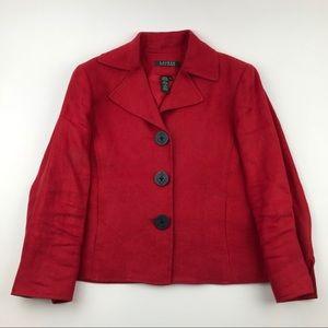 Lauren Ralph Lauren Size 4 Blazer 100% Linen Red